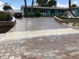 Stone paved residential driveway